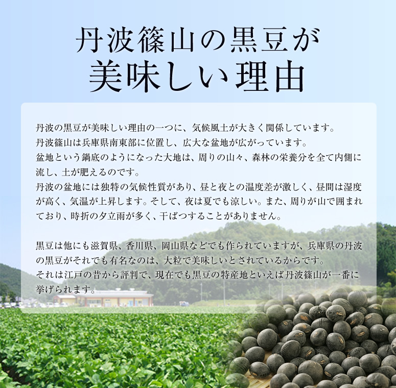 丹波篠山の黒豆が 美味しい理由丹波の黒豆が美味しい理由の一つに、気候風土が大きく関係しています。 丹波篠山は兵庫県南東部に位置し、広大な盆地が広がっています。 盆地という鍋底のようになった大地は、周りの山々、森林の栄養分を全て内側に 流し、土が肥えるのです。 丹波の盆地には独特の気候性質があり、昼と夜との温度差が激しく、昼間は湿度 が高く、気温が上昇します。そして、夜は夏でも涼しい。また、周りが山で囲まれ ており、時折の夕立雨が多く、干ばつすることがありません。 黒豆は他にも滋賀県、香川県、岡山県などでも作られていますが、兵庫県の丹波 の黒豆がそれでも有名なのは、大粒で美味しいとされているからです。 それは江戸の昔から評判で、現在でも黒豆の特産地といえば丹波篠山が一番に 挙げられます。